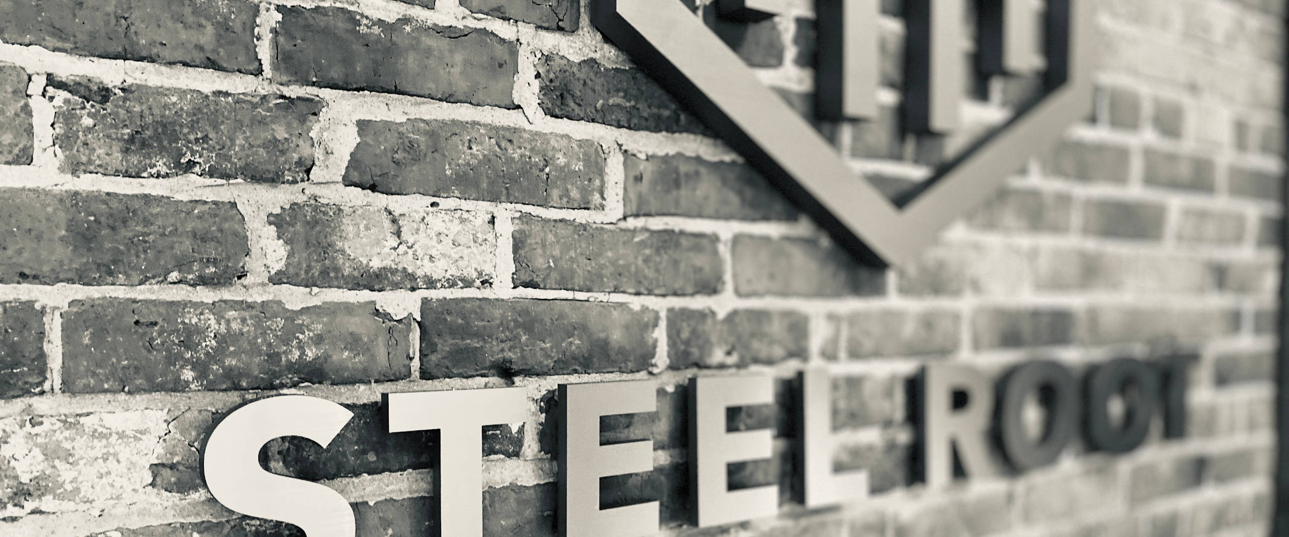 Photo of three dimensional Steel Root logo on a brick wall.